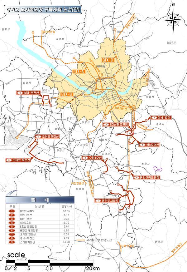 경기도, 9개노선 105.2km 도시철도망 구축